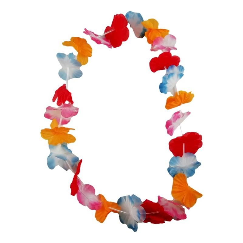 2X Collier de Fleurs Hawaïen 90cm Bienvenue Lei Hula Hawaï Plage Déguisement