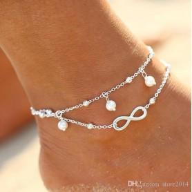 Bracelet de Cheville Argent Signe de l'Infini Infinity Bijou de Pied Chaîne Strass Or