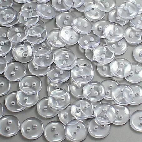 25X Boutons Ronds 7,5mm Transparents 2 Trous Couture Mercerie Scrapbooking